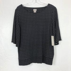 Chicos NEW Black & White Diamond Dot Print Shirt